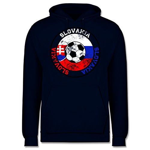 EM 2016 - Frankreich - Slovakia Kreis & Fußball Vintage - Männer Premium Kapuzenpullover / Hoodie Dunkelblau