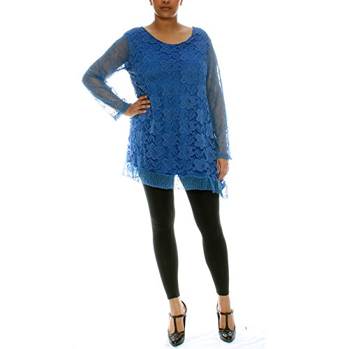 Candy Clothing -  Maglia a manica lunga  - Floreale - Donna Royal Blue