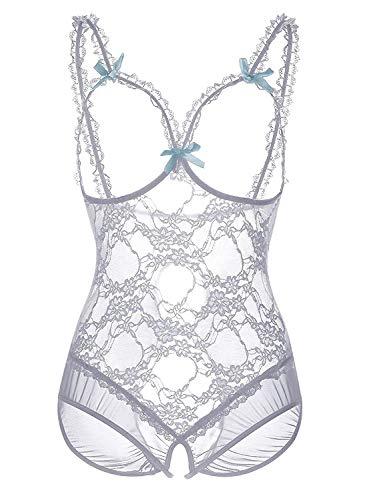 HAINE Floral Plissee Bustier Fancy Damen Korsett Kleid Sexy Dessous geschnürt (Weiß M) -