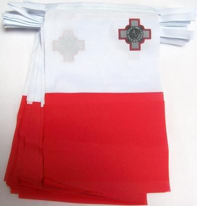 Foto de AZ FLAG Guirnalda 12 Metros 20 Banderas de Malta 45x30cm - Bandera MALTESA 30 x 45 cm - BANDERINES