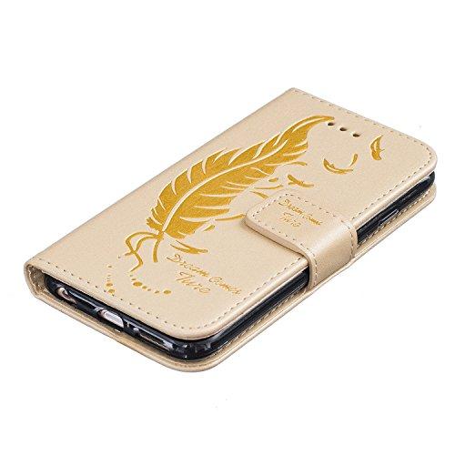 iPhone 6 6S Hülle,iPhone 6 6S Ledertasche Brieftasche im BookStyle,Cozy Hut Handyhülle iPhone 6 6S [Flügel] Muster PU Leder Tasche Schutzhülle Folio Magnetverschluss Flip Case Wallet Taljereep Handyta golden
