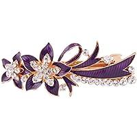 sourcing map Frauen Metall Blume Design Faux Strassstein Intarsien Haartragen Haarspange Lila DE