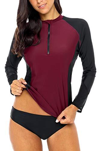 Sociala Damen LSF 50+ Langärmeliger Rashguard Bademode Athletic Top Rashguard, Damen, Wine Red (Half-Zip), Medium Stretch Half Zip Shirt