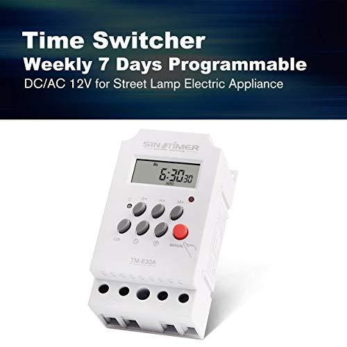 Lorenlli Ajuste SINOTIMER 12V 30A Semanal 7 días Control programable del temporizador del relé del temporizador digital para aparatos eléctricos con reloj despertador