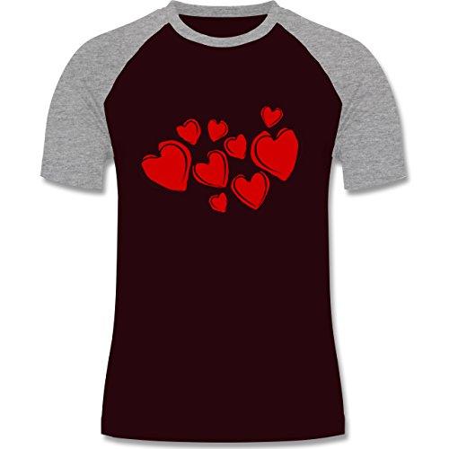 Romantisch - Herzen - zweifarbiges Baseballshirt für Männer Burgundrot/Grau meliert