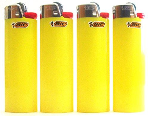 BIC Sunshine Gelb Volle Größe Feuerzeuge New Lot 4Stück