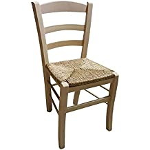 Okaffarefatto Maddaloni - Silla de madera para barnizar - Asiento de paja - Modelo Paesana - Silla de madera ya montada ideal para restaurantes