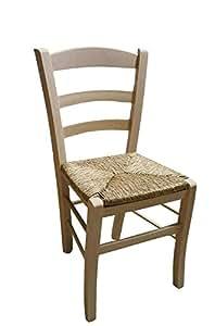 Sedia in legno da verniciare seduta in paglia ristorante casa ...