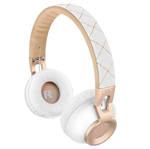 LQUIDE Kabellose Bluetooth-Kopfhörer (P8), Kinder-Kopfhörer Über Ohr, TF-Karte Spielen, Über Ohr Faltbare Und Audio-Eingang Mit Mikrofon, Kinder Kopfhörer Für Smartphone Tablets Laptop,White&Gold Plantronics Mobile