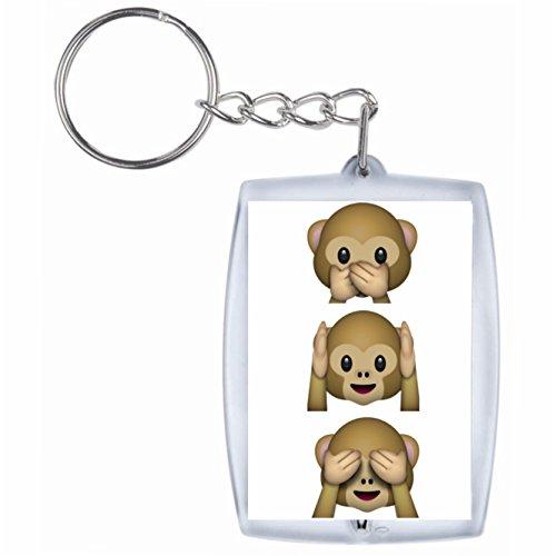 Druckerlebnis24 SchlüsselanhängerNichts-Böses-Sagen-Sehen-Hören Affen Drei Affen 3 Monkey aus Keramik, Smiley, Emoji, Deko, Kult, Kaffeetasse, Teetasse, IPhone, Emoticons. (Monkey Keramik)