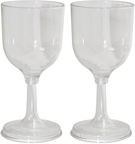 Grand Canyon Wine Glass Set - Kit de 2 verres à vin, polycarbonate, aspect verre véritable, ultra résistant, pied dévissable, 200 ml, transparent, 309012