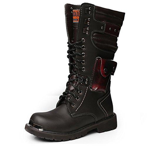Kalb-leder-lace Up Schuhe (Y-WEIFENG Herren Schuhe Lace Up Rivet Detail Leder oberen Mitte Kalb Kampfstiefel für Herren Laufen eine Größe größer Grille Schuhe (Color : Schwarz, Größe : 8.5 UK))