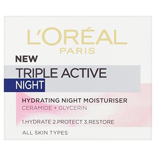 L'Oréal Paris Triple Active Hydrating NIGHT Moisturiser - Normal & Combination Skin 50ml -...