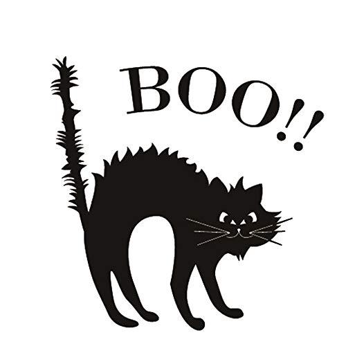 chlafzimmer Wohnzimmer Halloween Scared Black Cats Abnehmbare Vinyl Wand Fenster Dekor Abziehbilder ()