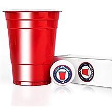 100 Original USA Red Cups + 6 Bälle + Spieleanleitung — Extra Starke Becher aus Amerika — Party Zubehör Bier Pong Set — Wiederverwendbare rote Plastikbecher (16oz/473ml) — True American