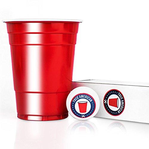 Cups + 6 Bälle + Spieleanleitung — Extra Starke Becher aus Amerika — Party Zubehör Bier Pong Set — Wiederverwendbare rote Plastikbecher (16oz/473ml) — True American (Kunststoff Bier Becher)