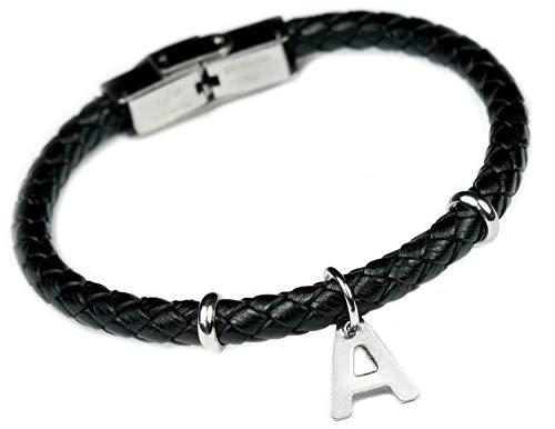 Lufetti Armband Leder Buchstabe Namen personalisiert Initialien A - Z Größe anpassbar (1 Buchstaben)