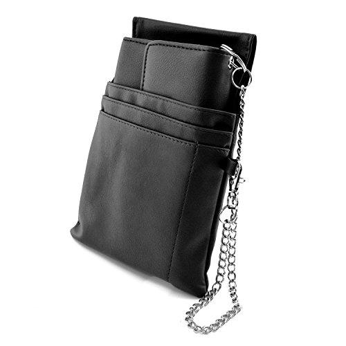 nean Kellner-Taxi-Geld-Börse-Portemonnaie mit Holster-Steck-Tasche und Kette (Schwarz)