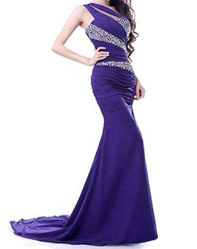 PLAER femmes Sexy Fishtail Robes demoiselle d'honneur robe soirée de fête robe cocktail robe Violet foncé