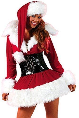 Damen 3-tlg. Sexy mit Gürtel Mrs Miss Weihnachten -