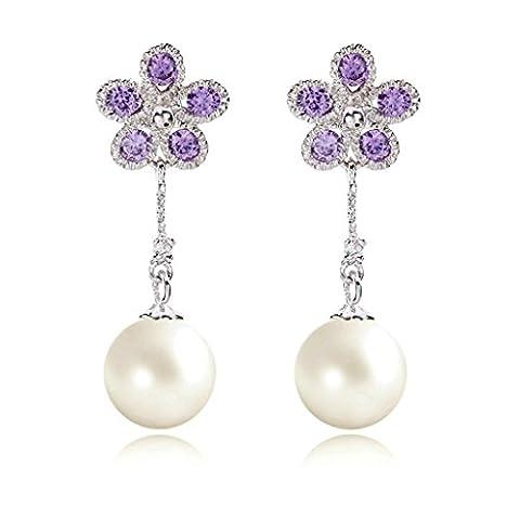 AnaZoz Bijoux Femme Boucles d'Oreilles Fantaisie Or Blanc Pendants d'Oreilles Pétale Pearl Violet