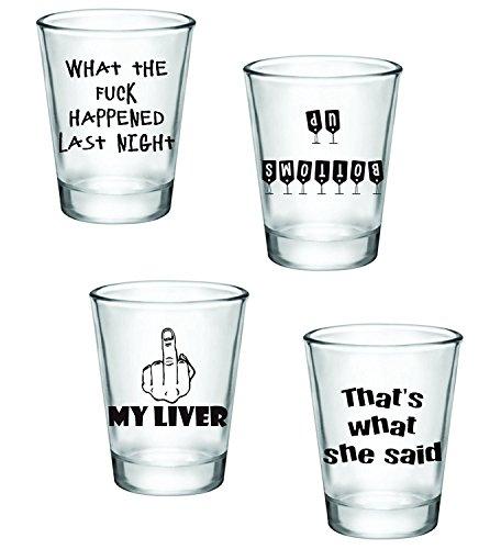 Geschenk Pack-Funny Shot Gläser-Set von 4(60)-tolle Geschenkidee (Shot Bachelorette Gläser)