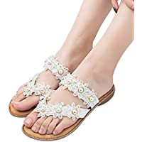 JiaMeng Bohemia La Mujer Rhinestone Dulce Clip Toe Sandalias Flor de Cristal Sandalias Planas Zapatos Peep