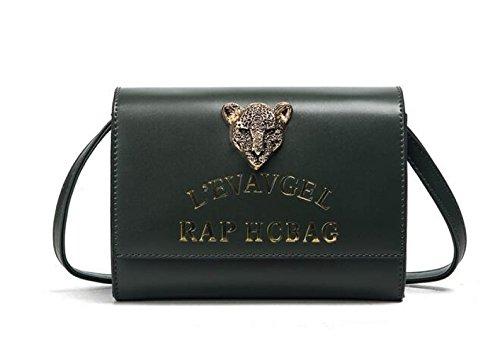 KYFW Frauen Weibliche Tasche Metall Leopard Kopf Einzug Kleine Square Bag Schulter Messenger Baggs C