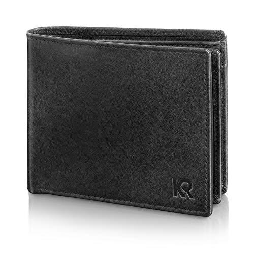 94e3a754b7390 KRONIFY Geldbeutel Männer aus Rindsleder mit RFID Schutz Großes  Portemonnaie Geldbörse Herren Leder Schwarz Brieftasche Portmonaise