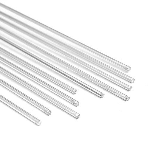 KUNSE 10Pcs 2Mm Diámetro 50Cm 19.7 Inchs Longitud Aluminio Varilla De Soldadura Electrodo De Alambre