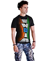 Sketch Lion Stylish Hand Printed T-Shirt- Round Neck Indian Independence Day Print T-Shirt For Men-Black