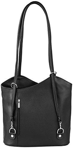 Ashley-2in-1-Rucksack-und-Handtasche-aus-Echt-Leder-Made-in-Italy-FarbeSchwarz