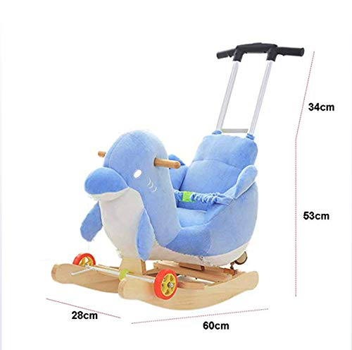 JTYX Children's Rocking Horse Baby Rocking Chair Solid Wood with Music Rocking Cradles Children's Birthday Gift JTYX ★ Convenient and practical: The product allows the baby to exercise, grasp, climb, kick, squat, shake, etc., so that the baby can play easily. ★Removable design: The seat cover is detachable, easy to clean, safe in material and does not fade. Made of solid wood and plush, it is more comfortable and safer to sit ★ Heightening base: Scientific anti-rolling, widening and heightening the base to keep the swing amplitude safe. 4