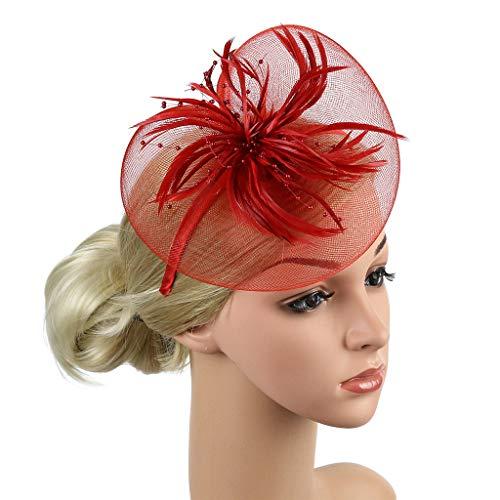 bobo4818 Netting Federn Big Flower Stirnband Party Mädchen Frauen Fascinator Headwear ()