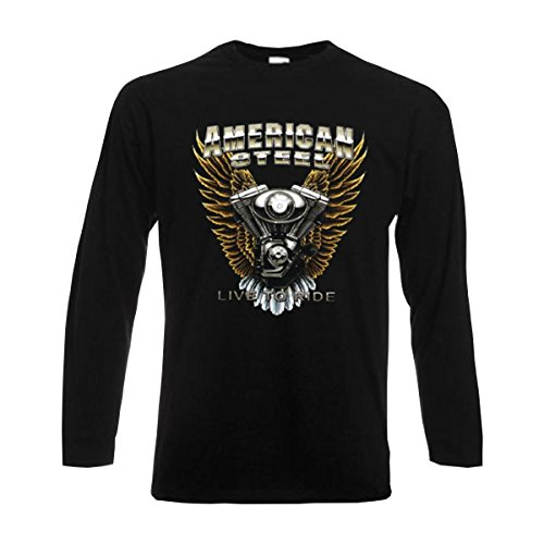 Longsleeve American Steel Live to Ride eagle wings V twin engine american style langarm T-Shirt Motorrad Biker Fashion große Größen S-6XL (ABR00700) Schwarz