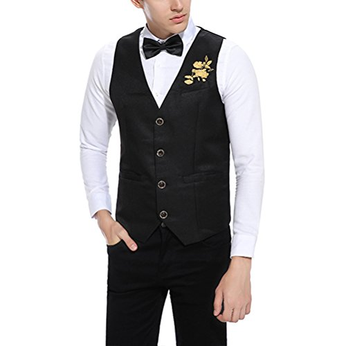 Zhhlaixing Gilet da Uomo Mens Printed Lightweight Waistcoat V Neck 4 Button Slim Fit Formal Business Office Casual Suit Vests Halloween Christmas Gift Black