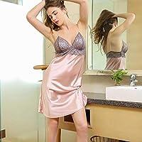 LXXQ Lencería Erótica Rosa Imitación Mujer De Seda Correa Camisón Sexy Encaje Señuelo Perforado Pijamas Casa Ropa Babydoll