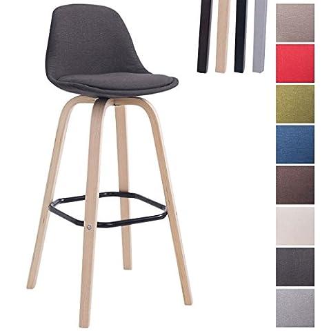 CLP Tabouret de bar design AVIKA, revêtement en tissu, chaise haute vaec un dossier et un repose-pieds gris foncé, piètement en bois: couleur nature