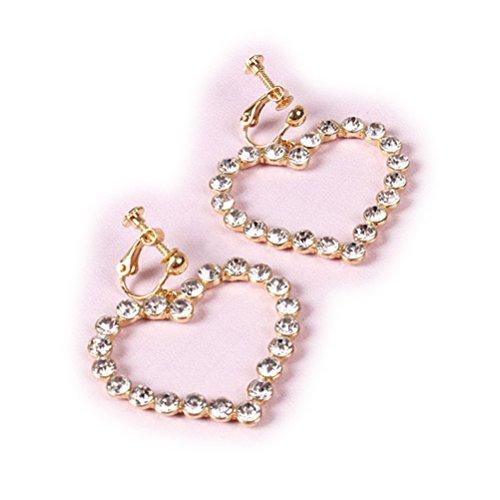 Ohrclips Clip on Ohrringe für Non Piercing Large Herz Kristall Modeschmuck für Mädchen