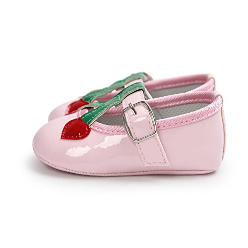 Chaussures en cuir souple et antidérapante avec motif de coeurs pour 0-18 mois Printemps été Automne Usage (Blanc, L) Rose