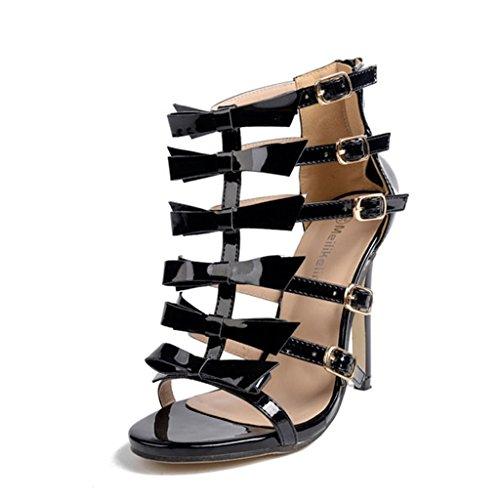 ALUK- Printemps et été - Europe et États-Unis Ceinture de papillon sexy avec chaussures à talons hauts ( Couleur : Noir , taille : 36 ) Noir