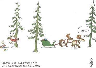 Freche Santa (Freche WeihnachtsPOSTkarte Santa in Nöten)