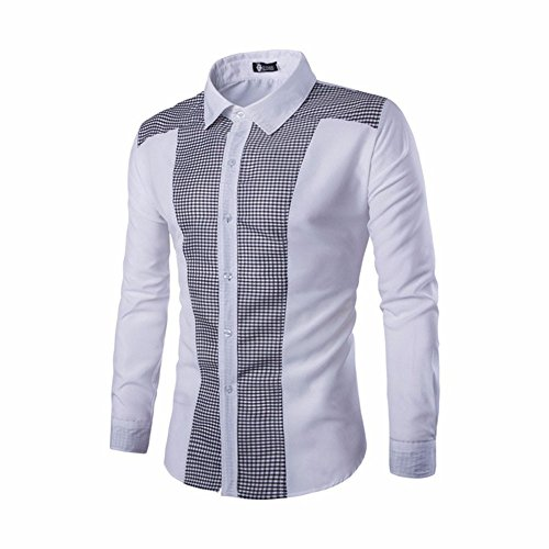 DAY.LIN Hemd Herren ! Herren Langarm Oxford Formelle Casual Anzüge Slim Fit T-Shirt Hemden Bluse Top (Weiß, EU56 /4XL) -
