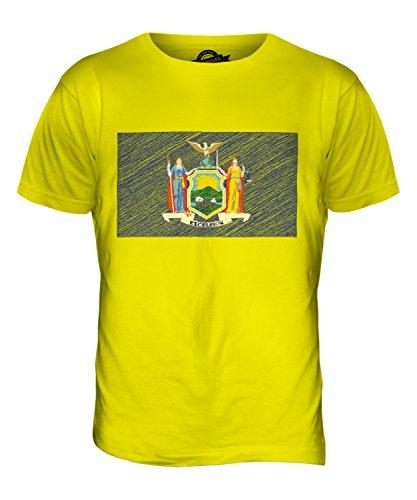 CandyMix Bundesstaat New York Kritzelte Flagge Herren T Shirt Zitronengelb