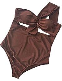 Bañadores Mujer Una Pieza Empuja Hacia Arriba el Acolchado del Bikini Mujer Oblicuo Hombro Elegant Cómodo Traje De Baño
