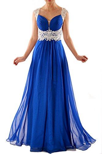 MACloth Women Cap Sleeve Lace Chiffon Long Prom Dress Wedding Party Formal Gown Königsblau