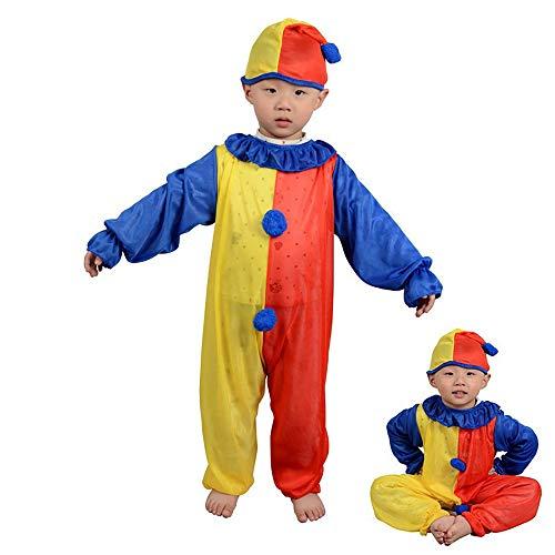 n Kostüm Performance Kostüm Bühnenperformance Clown Kostüm Niedliches Kostüm Rot Gelb Clown Nase,S ()