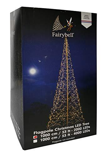 Fairybell Weihnachtsdeko - Gartendeko Lichterbaum Fahnenmast - LED Beleuchtet - groß
