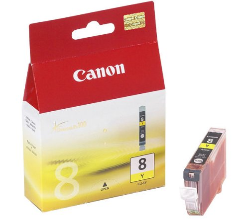 Canon CLI-8 Y original Tintenpatrone  Amarillo für Pixma Inkjet Drucker MX700-MX850-MP500-MP510-MP520-MP520x-MP530-MP600-MP600R-MP610-MP800-MP800R-MP810-MP830-iP3300-iP3500-iP4200-iP4200x-iP4300-iP4500-iP4500x-iP5200-iP5200R-iP5300-iP6600D-iP6700D-iX4000-iX5000-PRO9000-PRO9000MarkII -