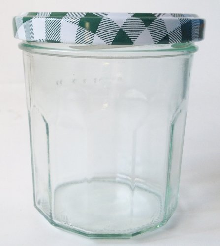 Nutley's Weithals-Marmeladengläser und grün-karierte Deckel, 324ml, (24Stück pro Packung)